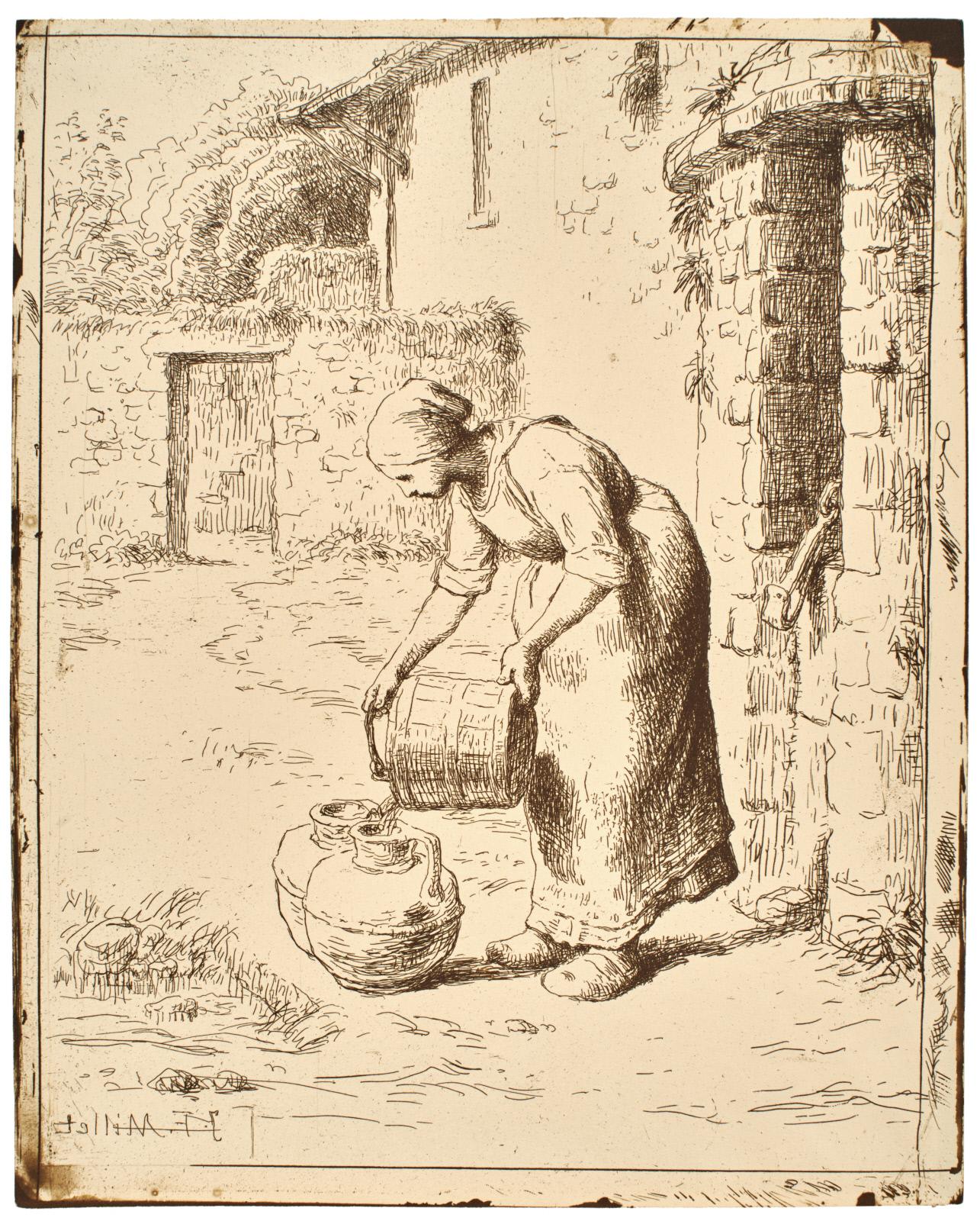 WOMAN EMPTYING A BUCKET (FEMME VIDANT UN SEAU)